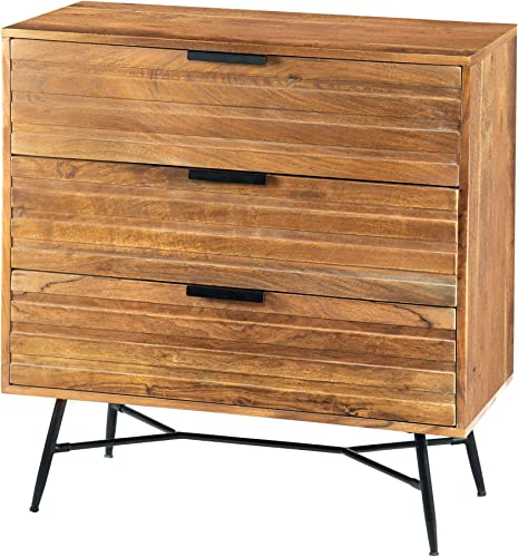 Tup The Urban Port 195127 Three Drawer Wooden Chest with Slanted Metal Base, Brown and Black