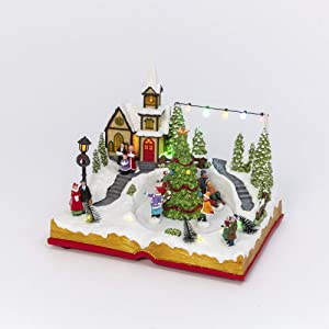 Gerson Christmas LED Lighted Musical Holiday Church with Moving Scene, 10.8-inch Length