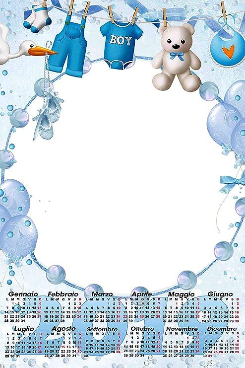 Calendario Bimbi.Calendario Plastificato A3 Personalizzato Foto 2019 Parete Azzurro Boy Bimbo