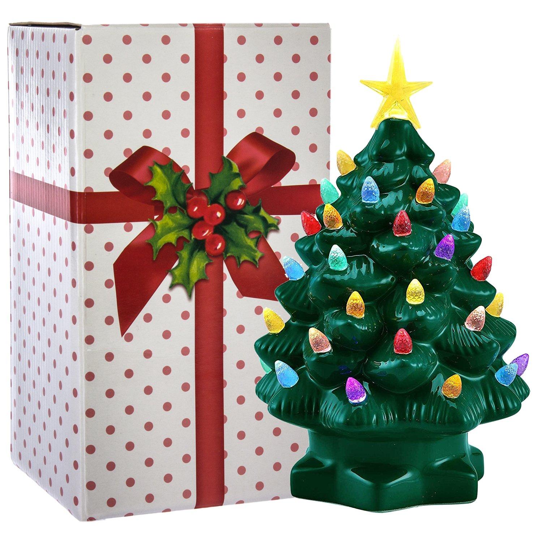 "Amazon.com: Mr. Christmas (2 Pack) 7"" Porcelain Christmas Tree ..."