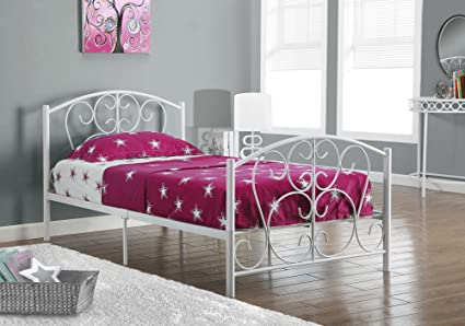 Amazon Com Monarch Specialties White Metal Twin Size Bed Frame Only