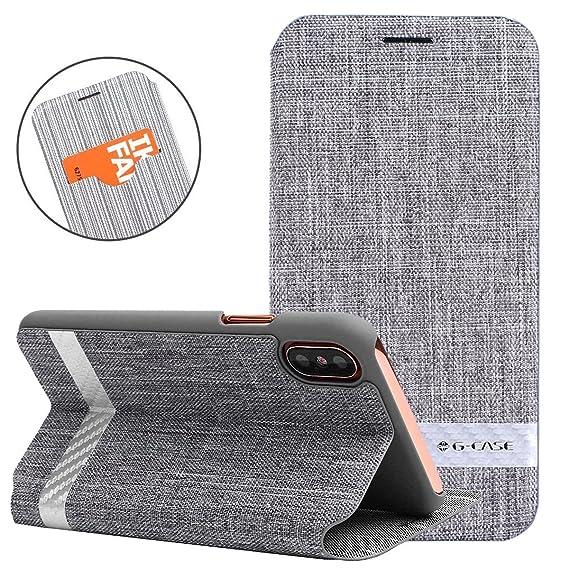 super popular 51f8c 7126d Amazon.com: iPhone X Case, G-CASE Flip Case [Funky] Premium Nylon ...