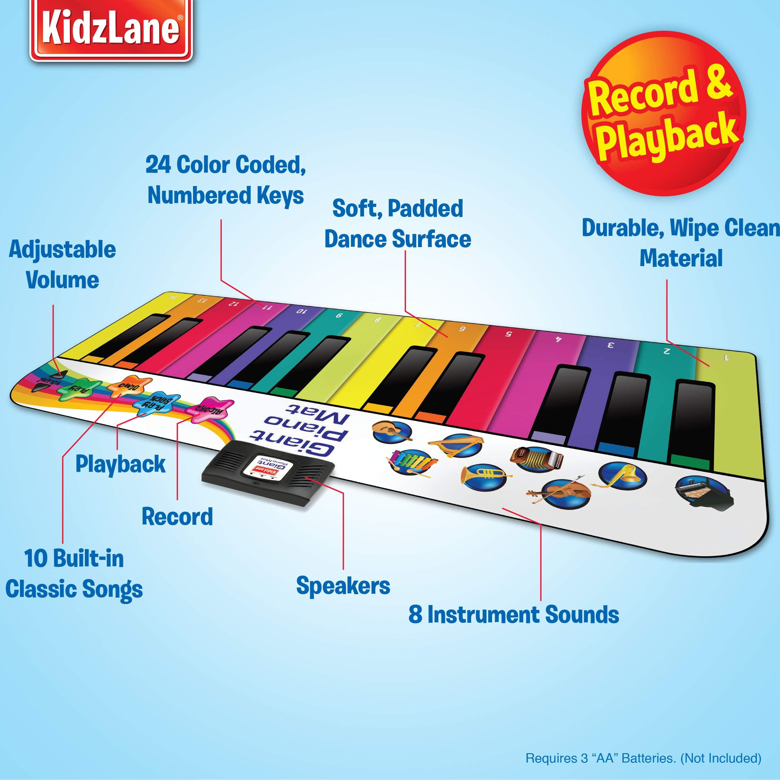 Kidzlane Floor Piano Mat: Jumbo 6 Foot Musical Keyboard Playmat for Toddlers and Kids by Kidzlane (Image #3)