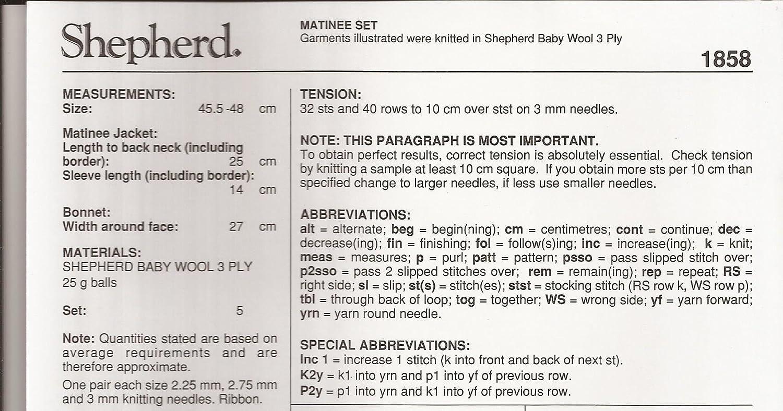 Amazon Baby Wool Matinee Set Shepherd Knitting Pattern 1858
