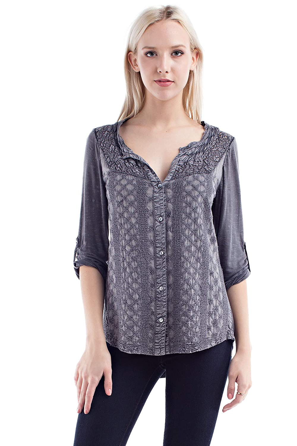 Charcoal Grey Solitaire Fitted Embroidery and Crochet Knit Back Button Down Blouse