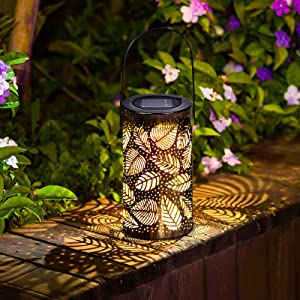Solar Lantern Lights Outdoor,Hanging Lights Outdoor Patio Decor,Garden Decor Outside Leaf Wrought Iron Projection lamp, for Patio,Outside or Table (Warm Yellow, Leaf)