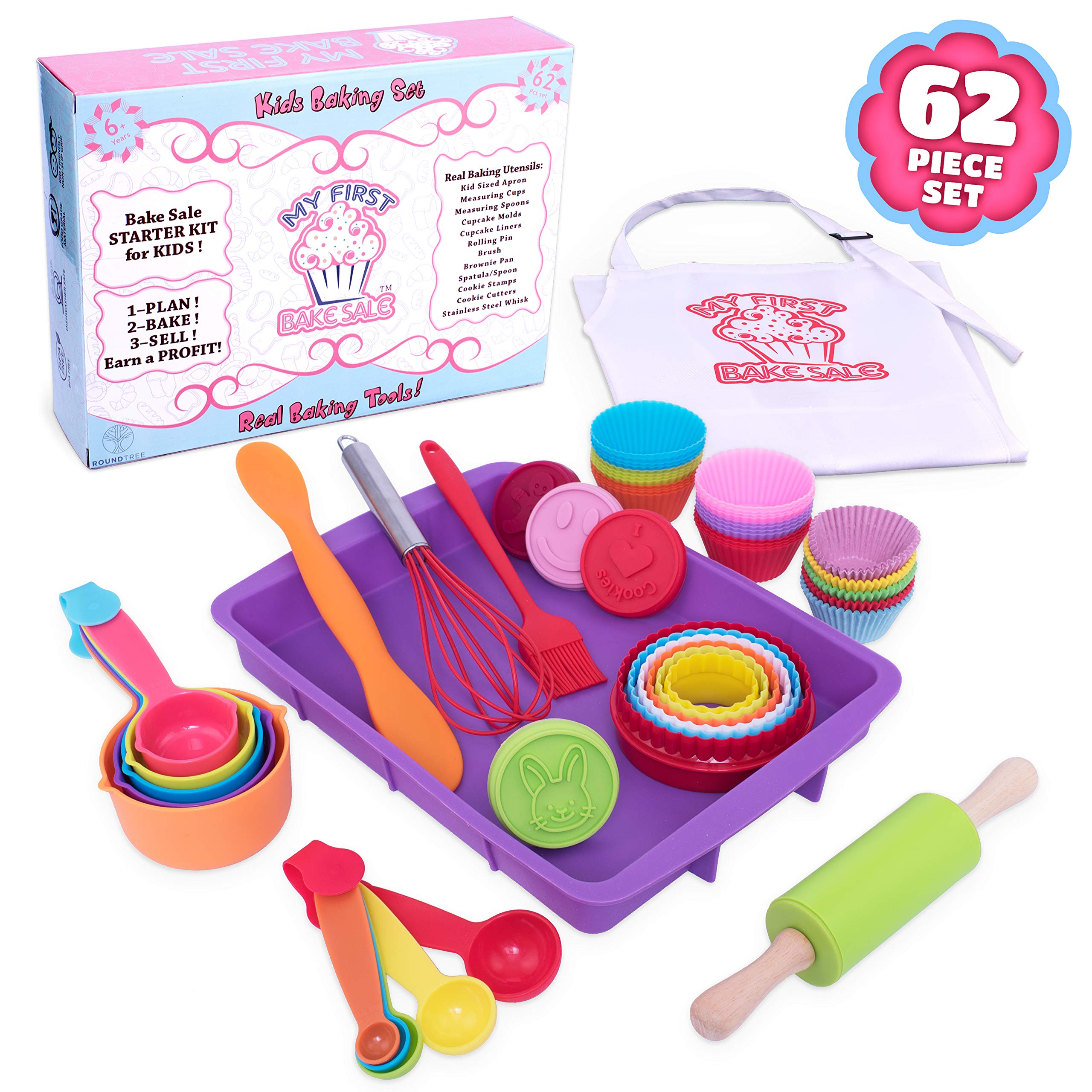 Roundtree My First Bake Sale Kids Baking Set, Kids Cooking Supplies for Making Pastries, Cupcakes, Cakes, Cookies. Ultimate 62 Piece Cooking Set for Kids, Cooking Utensils for Girls and Boys Age 6 Up by Roundtree