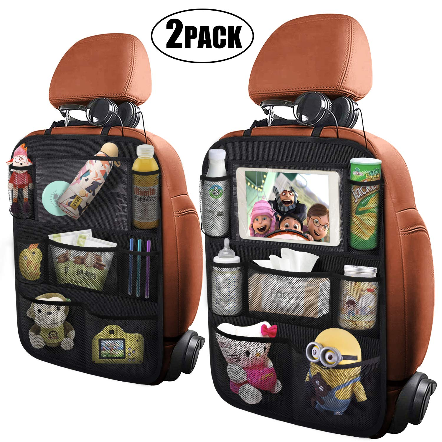ONE PIX Car Backseat Organizer with Touch Screen Tablet Holder Kick Mats Seat Back Protectors for Kids and Toddlers Premium Vehicle Travel Accessories 7 Storage Pockets 2 Pack