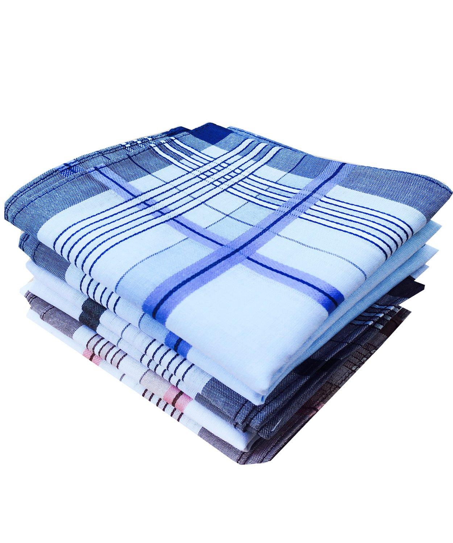La Closure Mens Fashion Classic Soft Cotton Handkerchiefs Hanky