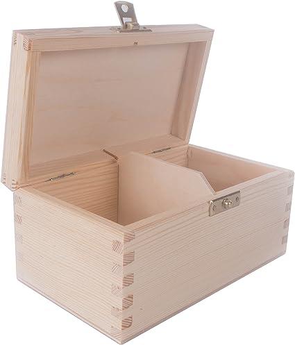 Caja de té de madera con 2 compartimentos, tapa con bisagra y ...