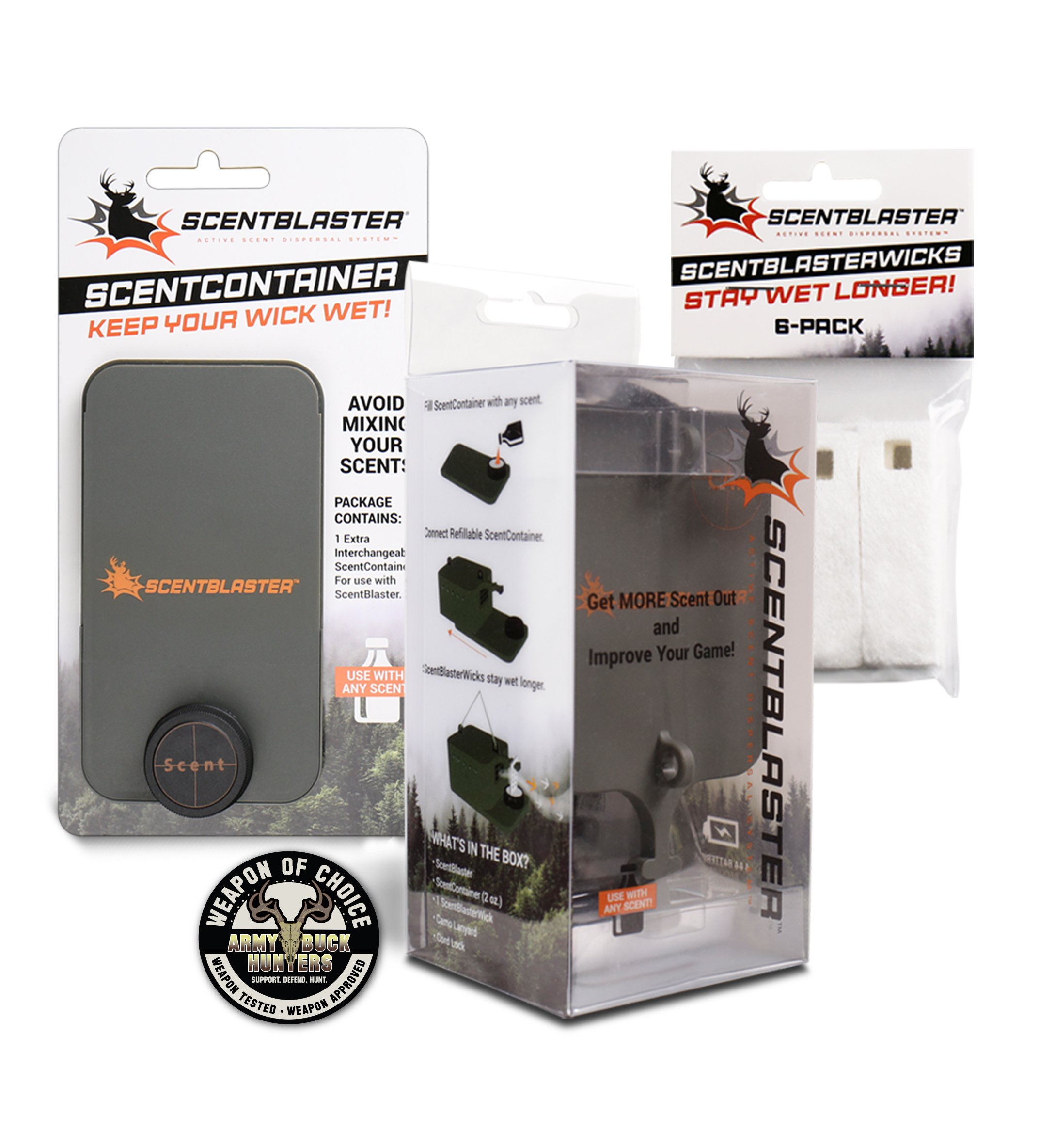 ScentBlaster Pro Kit, ScentBlasterWick 6-Pack & Extra ScentContainer. The World's best wicking system, works with any hunting scent, attracts more game to the kill zone!