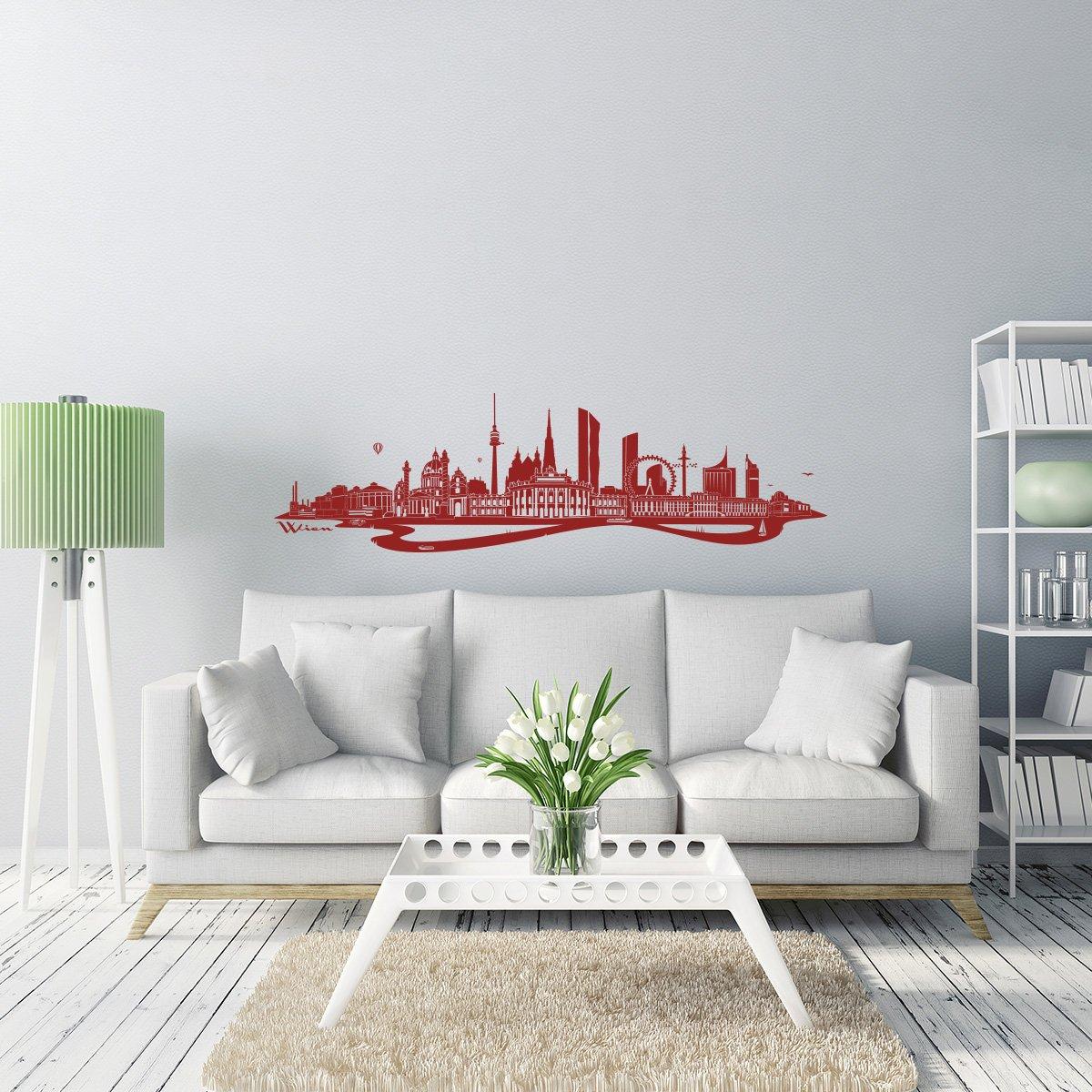 WANDKINGS Wandtattoo - Skyline Wien Wien Wien (mit Fluss) - 300 x 86 cm - Mittelgrau - Wähle aus 6 Größen & 35 Farben B078SHPHJS Wandtattoos & Wandbilder 79ee8a