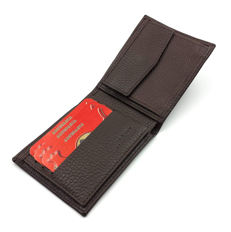 Negro FJR-ArtPiel Cartera billetera Alta Calidad monedero tipo americano Piel Ubrique con cierre de el/ástico tarjetero