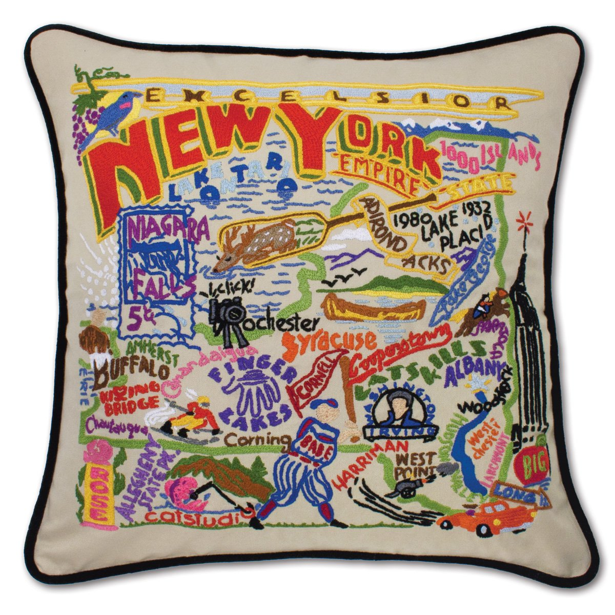 NEW YORK HAND EMBROIDERED PILLOW - CATSTUDIO