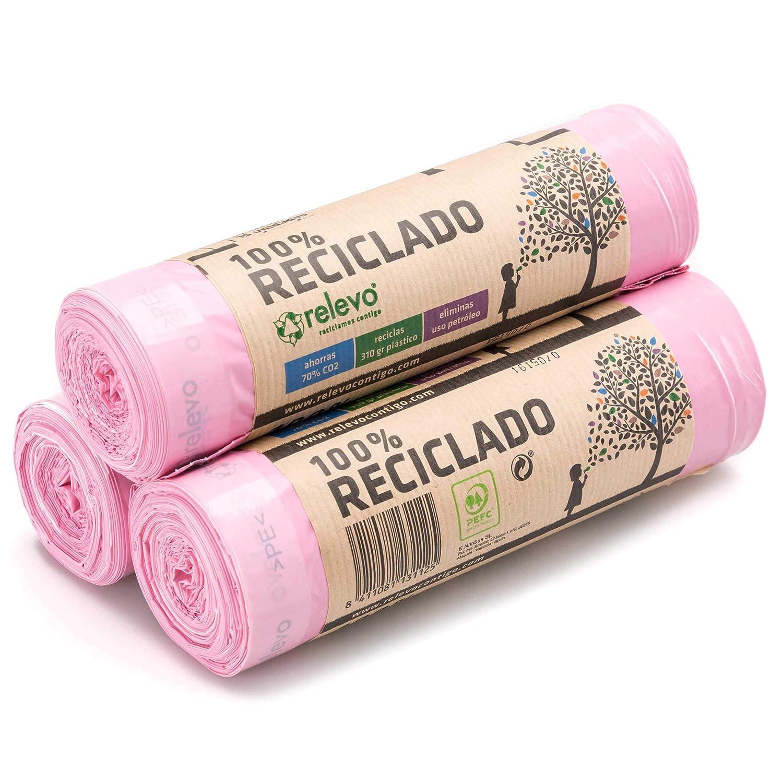 Relevo 100% Reciclado Bolsas Basura Perfumadas, extra resistentes 30 L, 45 bolsas