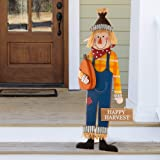 Glitzhome Fall Scarecrow Yard Stake Rustic Happy Harvest Scarecrow Pumpkin Porch Sign with Stakes Metal Hanging Fall Harvest