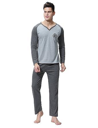 mejor autentico 431e3 aba6f Aibrou Pijamas de Ropa de Dormir de Algodón Set de Agradable Tacto y Cómodo  para Hombre