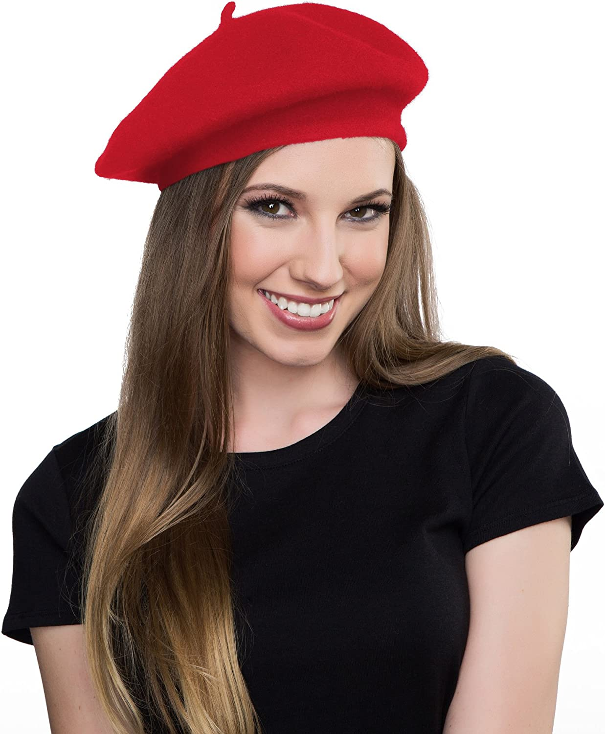 Kangaroo Wool Red Beret Hat- French Beret