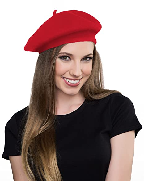 Image Unavailable. Image not available for. Color  Kangaroo Wool Red Beret  Hat- French Beret 1e0a41bb094b
