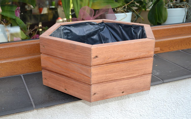 NUEVO Jardinera de acero madera Top Macetero Jard/ín Terraza montado D5/roble