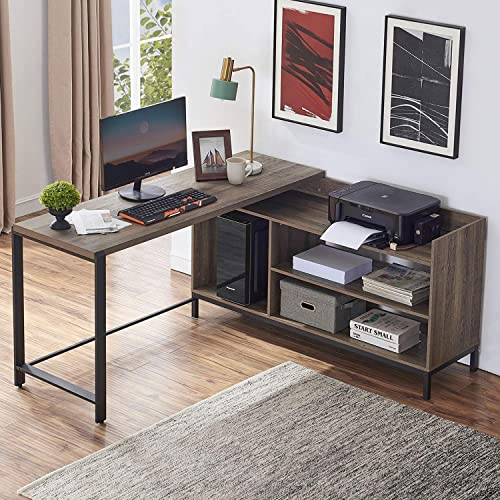 FELLYTN Rustic Industrial L Shaped Desk