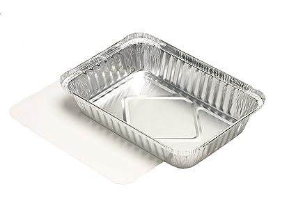 Papstar - Bandejas de aluminio, aluminio, plata, 10.50 x 15.70 x 22.20 cm