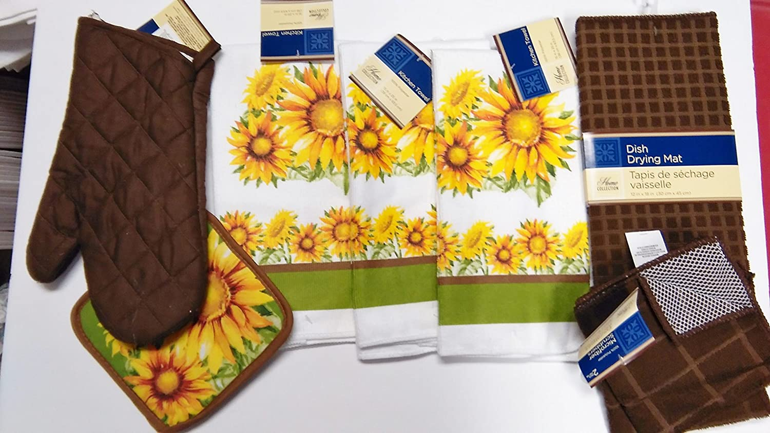 Sunflower Dish Towels with Matching Pot Holder, Brown Oven Mitt and Brown Dish Drying mat
