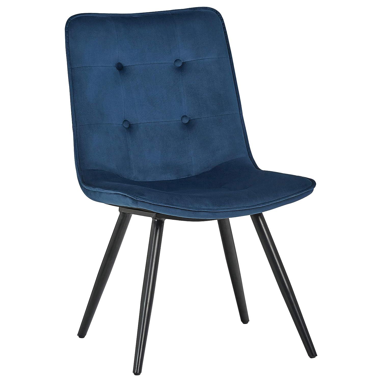 "Rivet Modern Tufted-Back Dining Chair, 34""H, Blue"