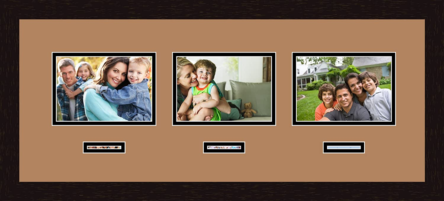 Art to Frames Double-Multimat-472-771//89-FRBW26061 Collage Frame Photo Mat Double Mat with 3-5x7 and 3-1x3 Openings and Espresso Frame