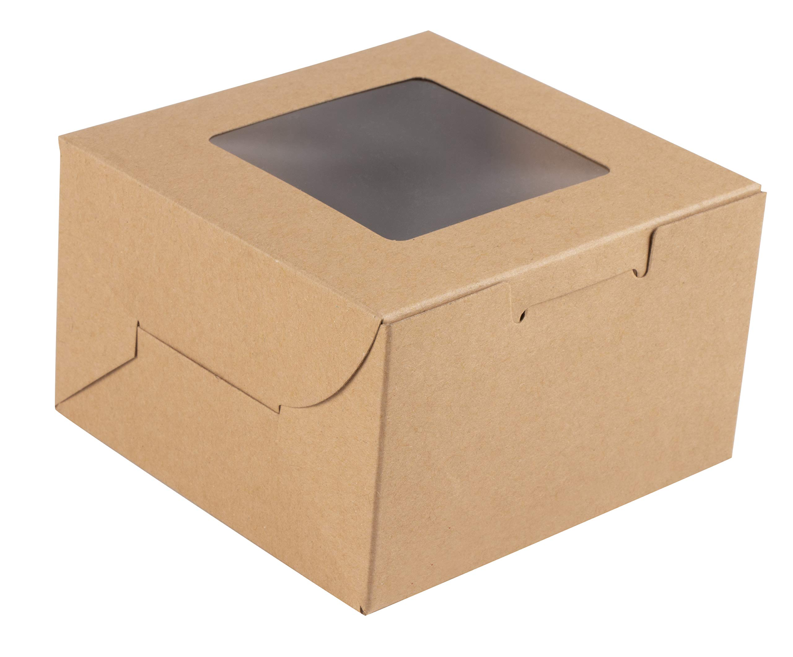 Kraft Paper Bakery Boxes - 50-Pack Single Pastry Box 4-Inch Packaging with Clear Display Window, Donut, Mini Cake, Pie Slice, Dessert Disposable Take-Out Container, Holds 1, Brown, 4 x 2.3 x 4 Inches by Juvale (Image #5)