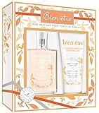 BIEN ETRE Coffret L'Eau parfumé des Familles aux Notes de Mandarine/Fleur de Coton/Musc Blanc, Eau Parfumée 75 ml + Baume Hydratant 100 ml