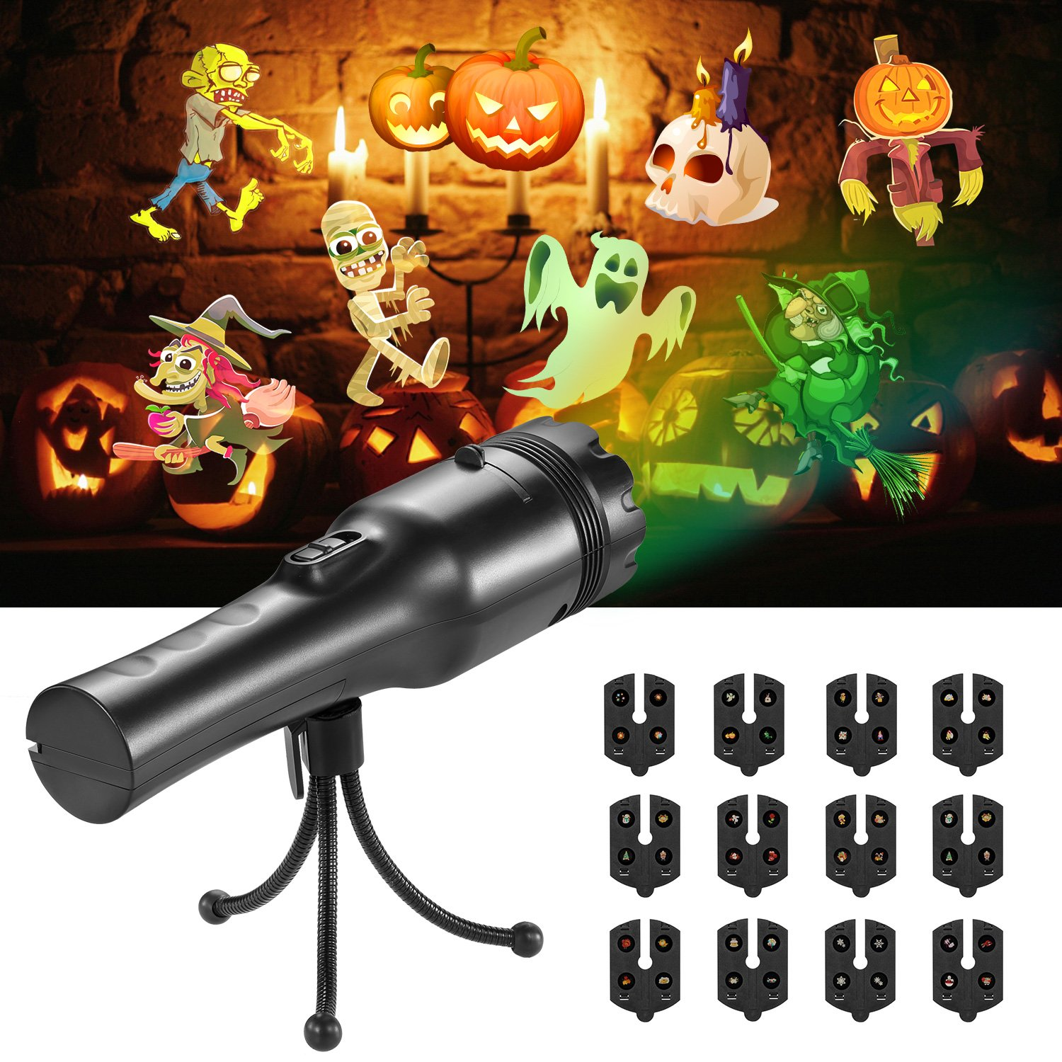 COMLIFE Handheld Halloween LED Projector Lights, Portable Projector Lights, Battery-Operated 2 in 1 Decoration Light & Handheld Flashlight,12 Slides for Home Party, Birthday, Christmas, Easter