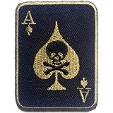 Parches - Poker as calavera Biker - negro - 5.6x7.6cm - termoadhesivos bordados aplique para ropa