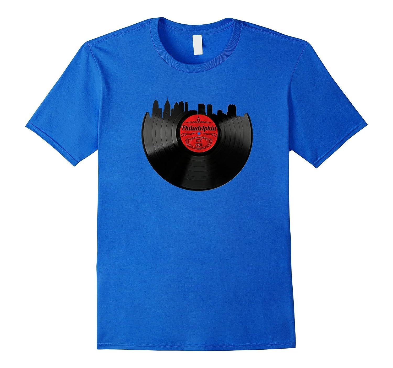 bb8a9246469 Philadelphia Pennsylvania Shirt Skyline Vinyl Record T-Shirt-PL ...