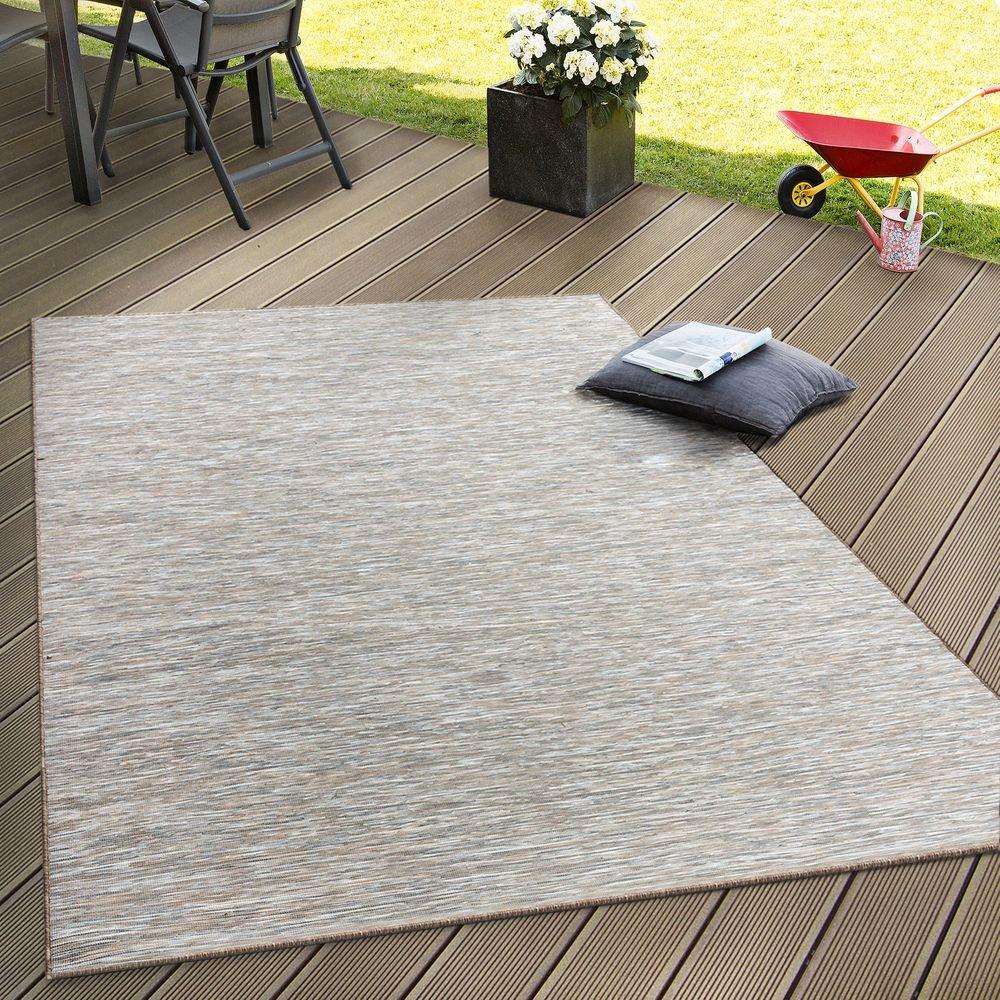 Paco Home In- & Outdoor Flachgewebe Teppich Terrassen Teppiche Mit Farbverlauf In Beige, Grösse 200x280 cm
