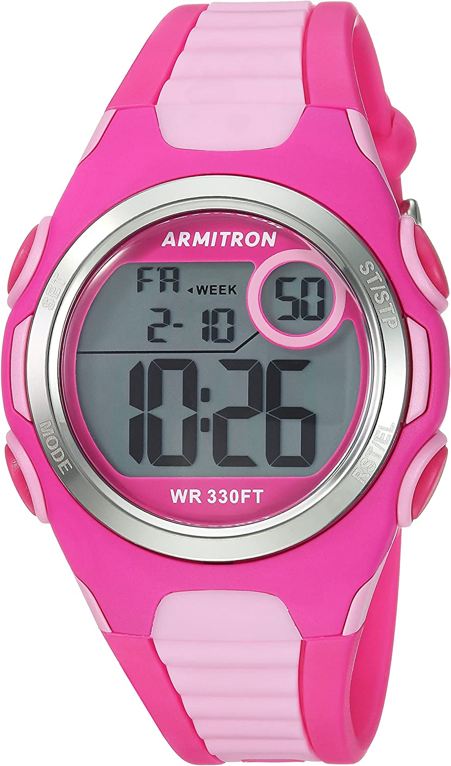Armitron Sport Women's 45 7076MAG Digital Chronograph Light Pink and Magenta Resin Strap Watch