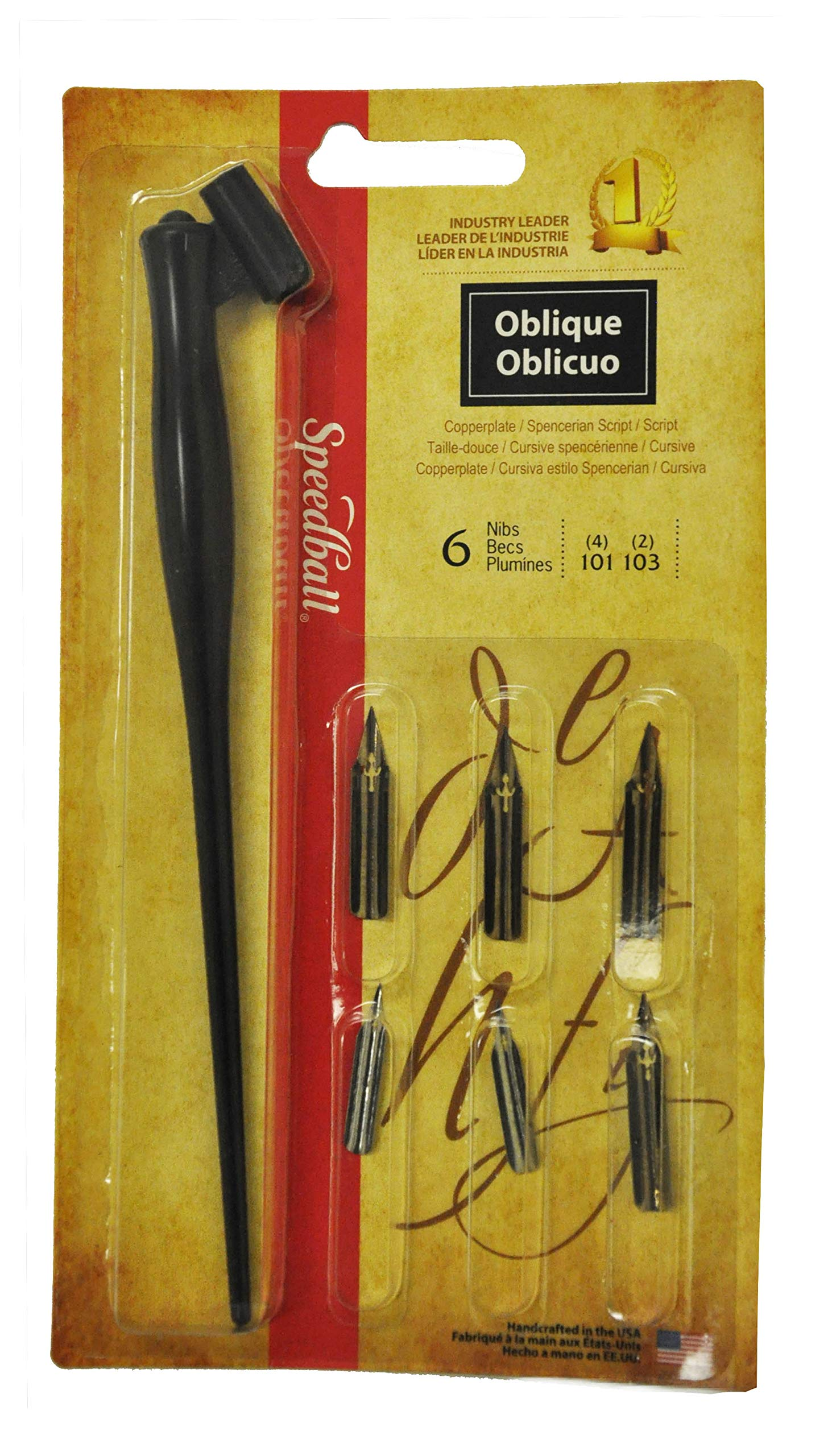 Speedball Oblique Pen Set - 1 Penholder w/ 4 Nibs, 2 Pen Points