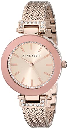 04abee671 Buy Anne Klein Women's AK/1906RGRG Swarovski Crystal Accented Rose  Gold-Tone Mesh Bracelet Watch Online at Low Prices in India - Amazon.in
