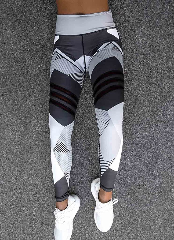 qiansu Ladies Yoga Leggings 3D Printing High Waist Yoga Pants Gym Workout Training Yoga Leggings Running Trousers Black White S-XL