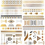 Amazon Price History for:COKOHAPPY Bride & Bachelorette Party Tattoos , 6 Sheets of Arm Band Diamond Feather Bird Arrow Flash Metallic Tattoo in Gold Silver , Easy to Apply and Long Lasting