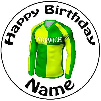"""Personalizado NORWICH camiseta de fútbol decoración para tarta para – una precortado redondo 8 """""""