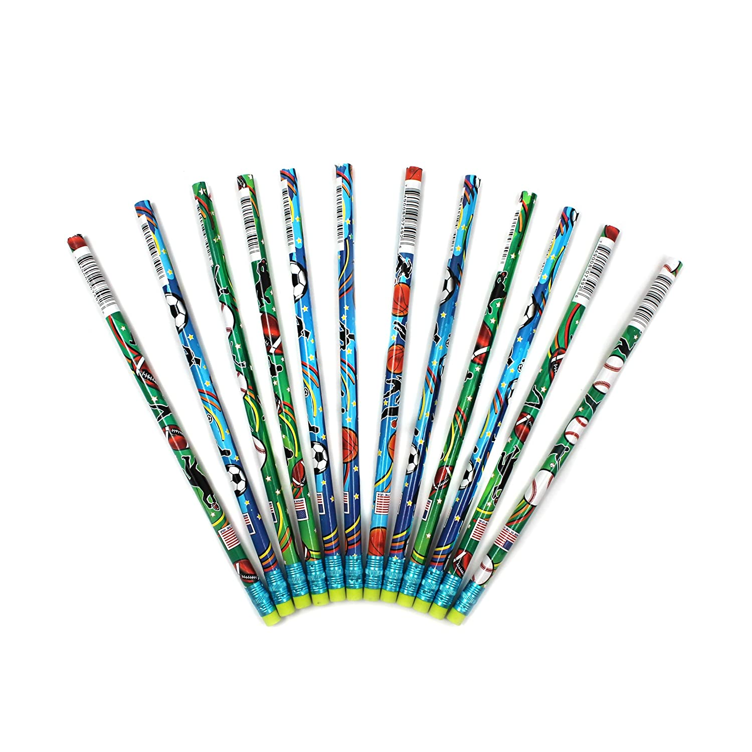 J.R Moon Pencil Sports Assorted Decorated Pencils Pack of 12