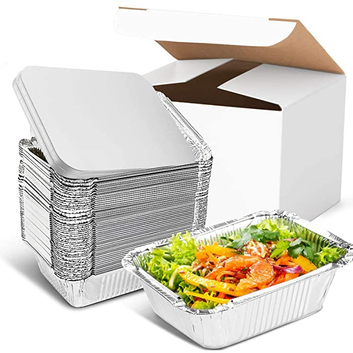 """Inmorven Aluminum Pan Disposable 40-Pack, 8.5"""" x 6.3"""" Tin Foil Pans with Lid Recyclable, Baking Table Deep Pans Tin Food Storage for Cooking, Baking, Meal Prep, Takeout, Freeze"""