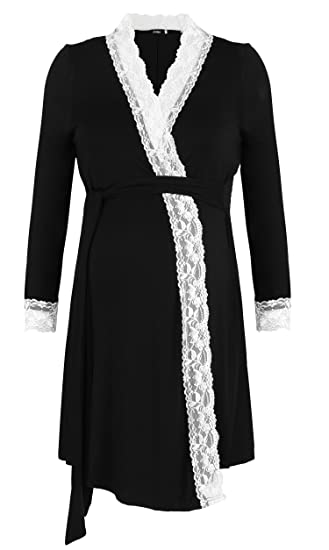 Molliya Maternity Pregnancy Labor Robe Delivery Hospital Nursing Nightgowns Sleepshirts for Breastfeeding Black