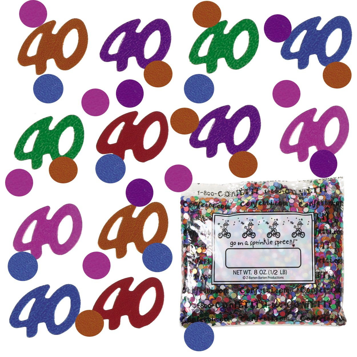 Confetti Mix - 40s & Circles Multicolors - One Pound - Free Priority Mail- (9003)