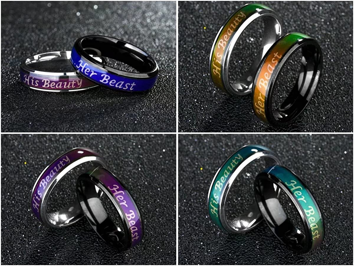 fashionlife2018 Titanium Mood Ring Temperature Emotion Feeling Change Color Rings Her Beast His Beaty Engagement Promise Couple Rings Jewelry