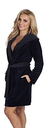 7b67cc82a5 Women Girls Warm Hooded House Robe Cotton Dressing Gown Bathrobe Dark Blue