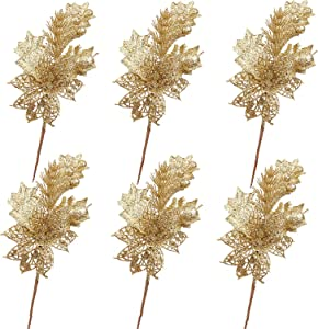 6 Pack Gold Glitter Christmas Picks Sprays with Artficial Flower and Leave Fruit for Christmas Decorations and Home Decor (Gold)