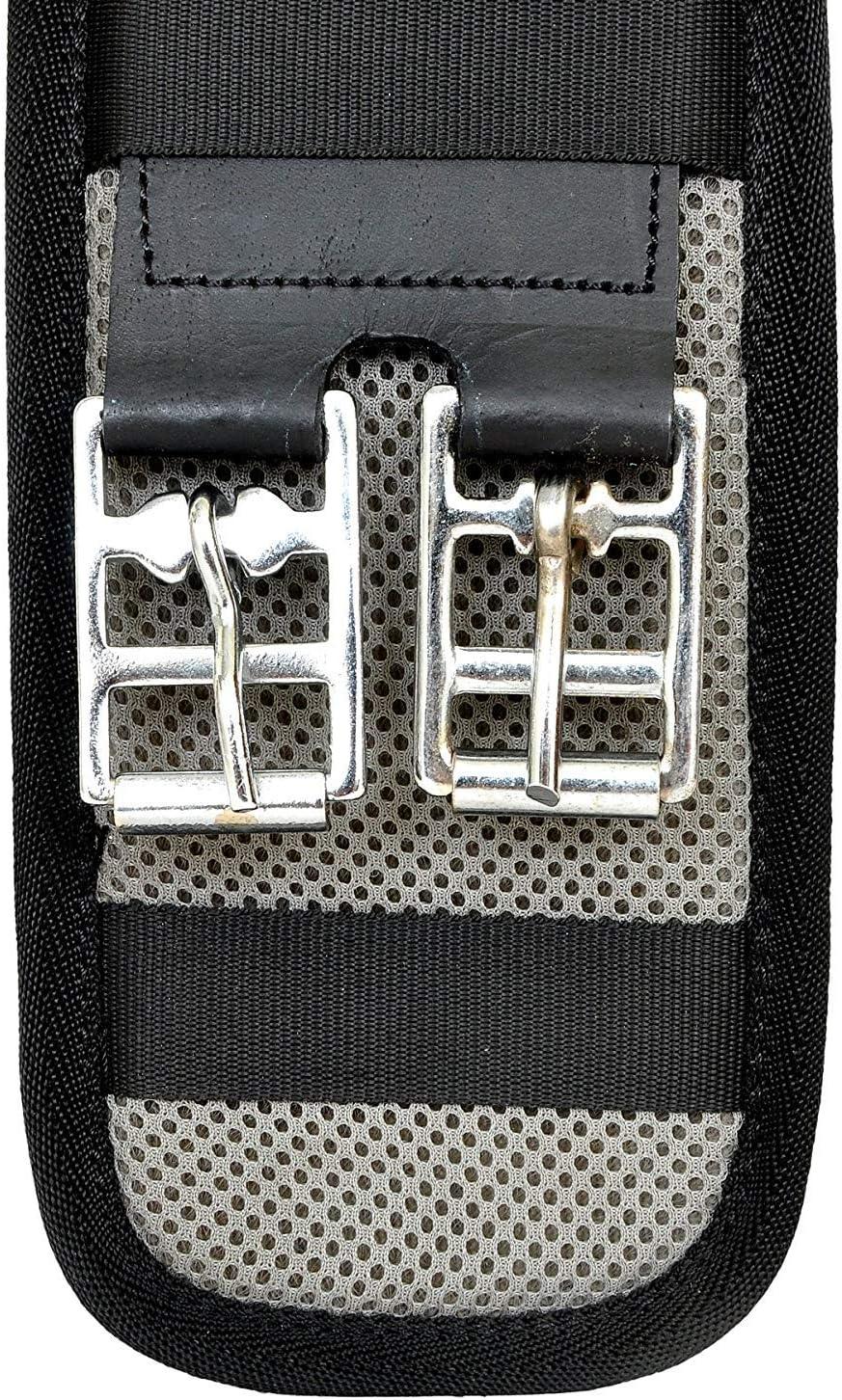 Leather Craft Attache de Selle de Cheval pour Enfant Noir Sangle et Sangle en Cuir Assortis