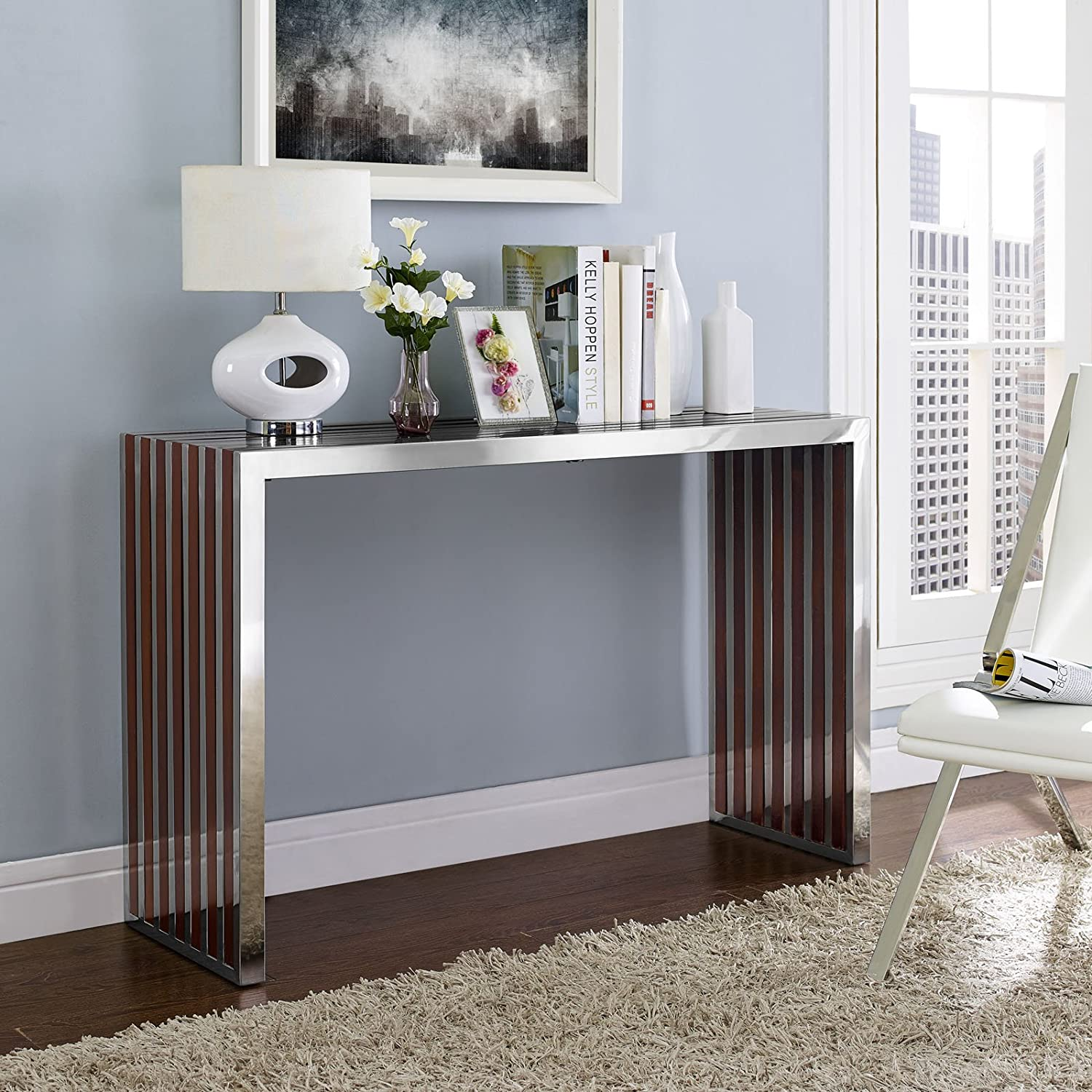 Modway Gridiron Contemporary Modern Stainless Steel Console Table With Wood Inlay
